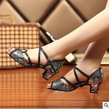 Mujer Zapatos PU Primavera / Otoño Confort / Pump Básico Sandalias Tacón Cuadrado Punta abierta Plata / Gris / Rojo U0yBbg21