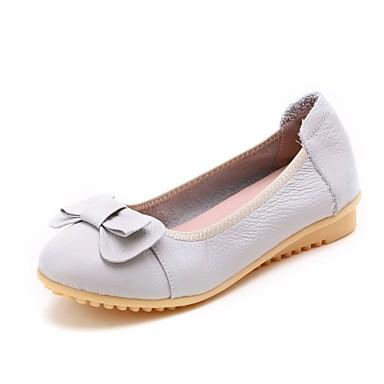 Mujer Zapatos Cuero Primavera / Otoño Confort Bailarinas Tacón Plano Blanco / Negro hCvExxSRYN