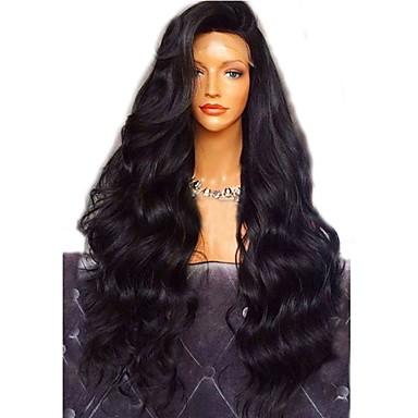 Ubehandlet hår Helblonde Parykk Lagvis frisyre stil Brasiliansk hår Bølget Krop Bølge Svart Parykk 180% Hair Tetthet med baby hår Til fargede kvinner Dame Kort Medium Lengde Lang Blondeparykker med