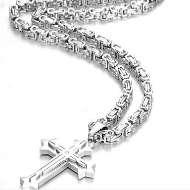 povoljno Modne ogrlice-Muškarci Ogrlice s privjeskom Duga ogrlica Long Bizant Kereszt križ sa razapetim Isusem Vintage Moda Cool Hip Hop Tikovina Titanium Steel Crn Zlato Srebro Plava 60 cm Ogrlice Jewelry Za Party Dar