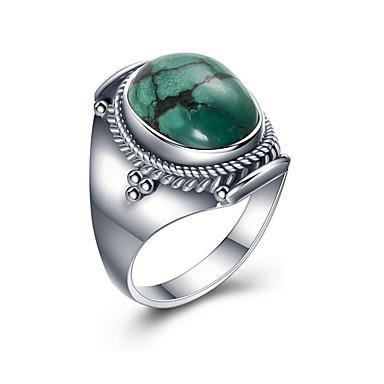 billige Motering-Herre Band Ring Turkis Turkis Lyseblå S925 Sterling Sølv Sirkelformet Europeisk Gave Smykker Oval Cocktail Ring