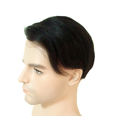 cheap Toupees-Men's Remy Human Hair Toupees Full Lace 8X10 inch Swiss lace or French lace men Toupee Real Hair Men Toupees Hair Replacement System Super Fine Welded Mono Lace 100% Hand Tied