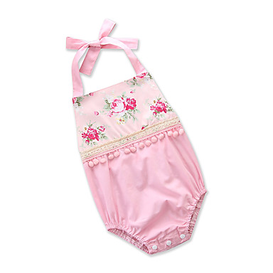 Baby Girls' Active Daily / Going out Floral / Print Backless / Tassel / Stylish Sleeveless Cotton Bodysuit Blushing Pink / Cute / Toddler