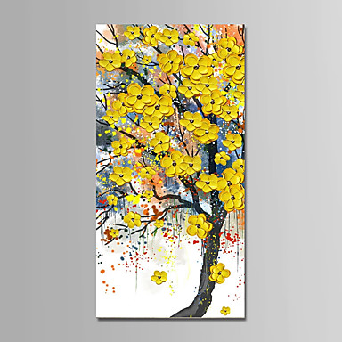 Hang-ζωγραφισμένα ελαιογραφία Ζωγραφισμένα στο χέρι - Αφηρημένο Τοπίο Μοντέρνα Περιλαμβάνει εσωτερικό πλαίσιο / Επενδυμένο καμβά