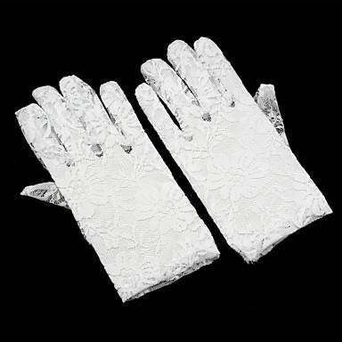 preiswerte Handschuhe für die Party-Spitze Handgelenk-Länge Handschuh Blumenmädchen Handschuhe Mit Kunstperlen