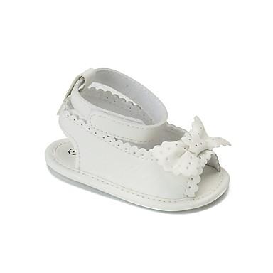 preiswerte Schuhe für Kinder-Mädchen Komfort / Lauflern / Kinderbett Schuhe Kunstleder Sandalen Kleinkind (9m-4ys) Schleife / Klettverschluss Weiß / Staubige Rose Sommer / Herbst