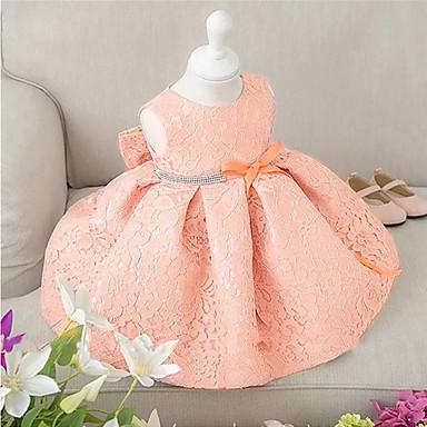 povoljno Odjeća za bebe-Dijete Djevojčice Party Jednobojni Bez rukávů Pamuk Haljina Pink