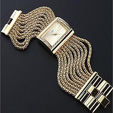 저렴한 정사각형 및 직사각형 시계-여성용 커플용 캐쥬얼 시계 패션 시계 금시계 석영 숙녀 캐쥬얼 시계 실버 / 골드 아날로그 - 골드 실버
