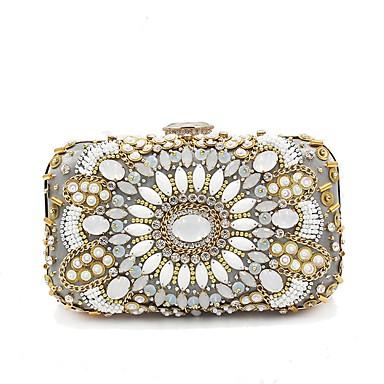 Γυναικεία Χάντρες / Κρυστάλλινη λεπτομέρεια Πολυεστέρας Βραδινή τσάντα Κρύσταλλο Βραδινά Τσάντες Κρυστάλλινα Μπεζ