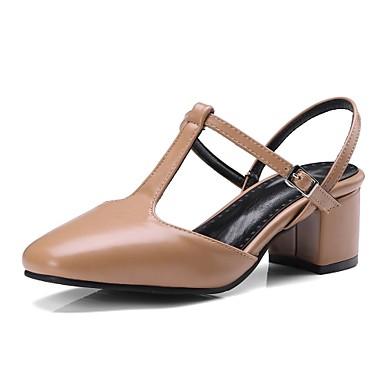 Mujer Zapatos Cuero de Napa Verano Confort Tacones Tacón Cuadrado Punta cerrada Hebilla Blanco / Rosa / Almendra naDZk