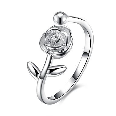 Dame Håndledd Ring Kubisk Zirkonium Sølv S925 Sterling Sølv damer Mote Gave Daglig Smykker Blomst