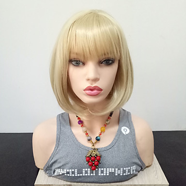 Synthetic Wig Straight Blonde Bob With Bangs Blonde Synthetic Hair