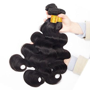 3 pakker Malaysisk hår Krop Bølge Ubehandlet hår Ubehandlet Menneskehår Svart Naturlig Farge Hårvever med menneskehår Ny ankomst farging Ungdom Hairextensions med menneskehår / 10A