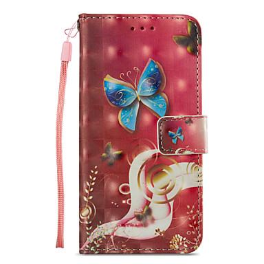 Etui Til Apple iPhone X / iPhone 8 Plus / iPhone 8 Lommebok / Kortholder / med stativ Heldekkende etui Sommerfugl Hard PU Leather
