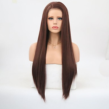 Syntetisk blonder foran parykker Rett Side del Blonde Forside Parykk Lang Beige Syntetisk hår Dame Naturlig hårlinje Brun