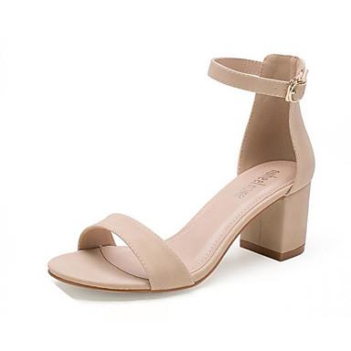Mujer Zapatos Cuero de Napa Verano Confort Sandalias Tacón Bajo Puntera abierta Perla de Imitación Negro / Beige 7Vo1KNLM
