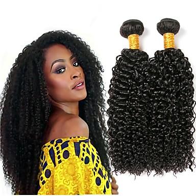 3 pakker Indisk hår Krøllet Ekte hår Hairextensions med menneskehår Naturlig Farge Hårvever med menneskehår Ekstensjon Hairextensions med menneskehår / 8A