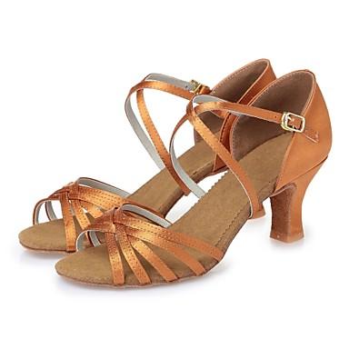 b43dc35be3e Women s Latin Shoes Silk Heel Ribbon Tie Chunky Heel Customizable Dance  Shoes Dark Brown   Nude   Leather   Professional 6649522 2019 –  22.99