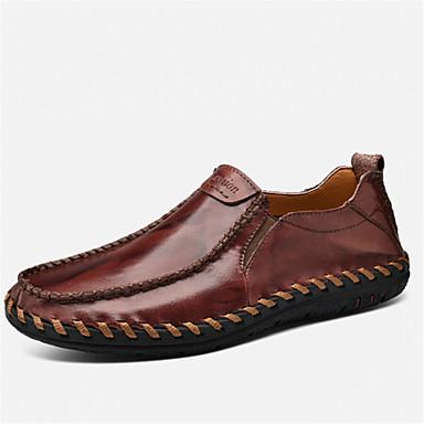 Hombre Zapatos Cuero Primavera / Verano Confort Zapatos de taco bajo y Slip-On Negro / Amarillo / Borgoña ZKL9Cs