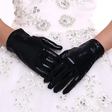 cheap Party Gloves-Faux Leather Wrist Length Glove Bridal Gloves With Black-redCubanHee