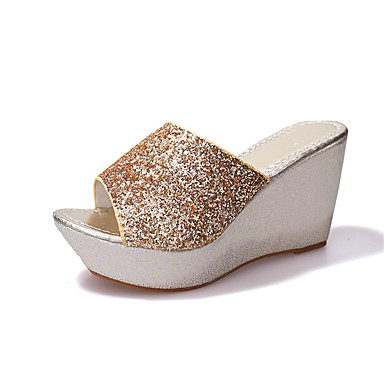 Women s Shoes Glitter   Leatherette Spring   Summer Comfort   Gladiator  Slippers   Flip-Flops Wedge Heel Gold   Black   Silver 6642351 2019 –  16.99 cb4b28f89