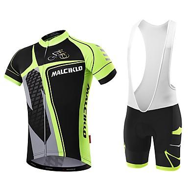 Malciklo Ανδρικά Αθλητική φανέλα και σορτς ποδηλασίας Λευκό Μαύρο Ποδήλατο Σορτσάκι με τιράντες Αθλητική μπλούζα Γρήγορο Στέγνωμα Ανατομικός Σχεδιασμός Αντανακλαστικές Λωρίδες Αθλητισμός / Προηγμένο
