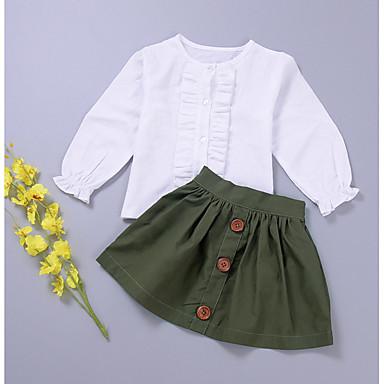 Νήπιο Κοριτσίστικα Μονόχρωμο Μακρυμάνικο Βαμβάκι Σετ Ρούχων Πράσινο Χακί