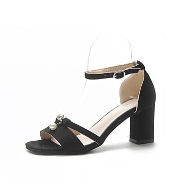 Mujer Zapatos Ante Verano Confort Sandalias Tacón Cuadrado Puntera abierta Lentejuela Negro / Almendra jmoEvDJl