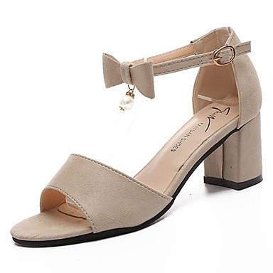 Mujer Zapatos PU Verano Tira en el Tobillo Sandalias Talón de bloque Hebilla Blanco / Negro / Gris claro TPCND