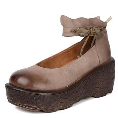 Primavera Verano Cuero Tacón Bailarinas Confort Zapatos Mujer Cuña wS6xFnaq
