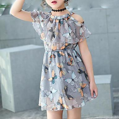 abordables Robes pour Filles-Enfants Fille Doux Quotidien Vacances Plage Papillon Imprimé Sans Manches Robe Gris / Coton