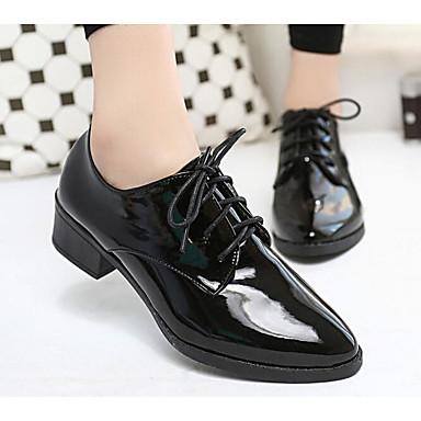 Mujer Zapatos Cuero Patentado Primavera / Otoño Confort Oxfords Tacón Cuña Blanco / Negro gPzIut