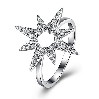 billige Motering-Dame Band Ring vikle ring Kubisk Zirkonium liten diamant Sølv S925 Sterling Sølv damer Mote Fest Daglig Smykker Stjerne Nordstjernen