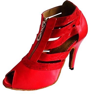 preiswerte Latein Schuhe-Damen Tanzschuhe Satin Schuhe für den lateinamerikanischen Tanz / Salsa Tanzschuhe Absätze Maßgefertigter Absatz Maßfertigung Weiß / Schwarz / Rot / Innen / EU36
