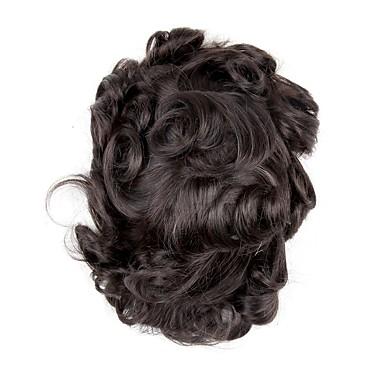 levne Tupé-Pánské Přírodní vlasy Tupé 100% ručně vázaná