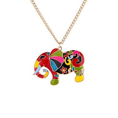 levne Pánské šperky-Pánské Náhrdelníky s přívěšky Slon Geleneksel Barevná Akrylát Duhová 65 cm Náhrdelníky Šperky Pro Dar Festival