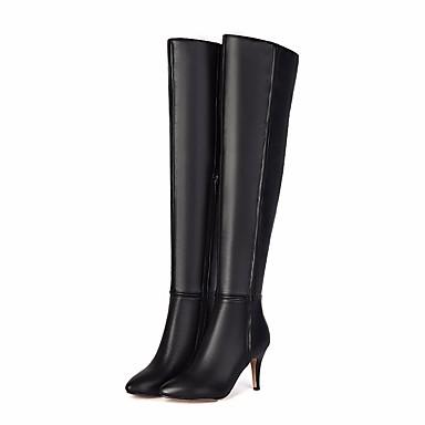 Mujer Zapatos Cuero de Napa / Cuero Otoño / Invierno Botas de Moda Botas Tacón Stiletto Sobre la Rodilla Negro 84veaVfB5V