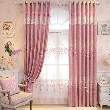 Curtains Drapes Living Room Floral Cotton / Polyester Embroidery ...