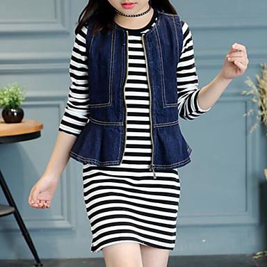 preiswerte Sommerkleidersets für Mädchen-Kinder Mädchen Street Schick Gestreift Langarm Standard Kleidungs Set Schwarz