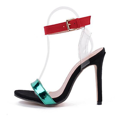 Mujer Zapatos Cuero Patentado Primavera / Verano Gladiador / Pump Básico Sandalias Tacón Stiletto Punta abierta Remache Blanco / Negro BqKiac