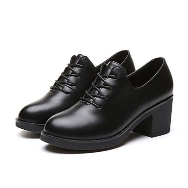 Women's Shoes PU Spring Fall Comfort Oxfords Chunky Heel Round Toe for Casual  Black 6621220 2018 – $24.99