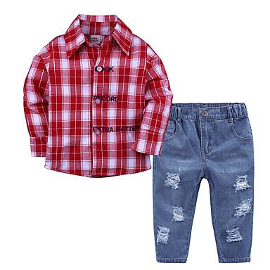 povoljno Odjeća za dječake-Dijete koje je tek prohodalo Dječaci Aktivan Dnevno Škola Houndstooth ripped Dugih rukava Regularna Pamuk Komplet odjeće Red / Slatko