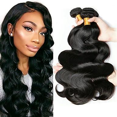 4 pakker Malaysisk hår Bølget Ekte hår Menneskehår Vevet Hairextensions med menneskehår Naturlig Farge Hårvever med menneskehår Ekstensjon Hot Salg Hairextensions med menneskehår / 8A