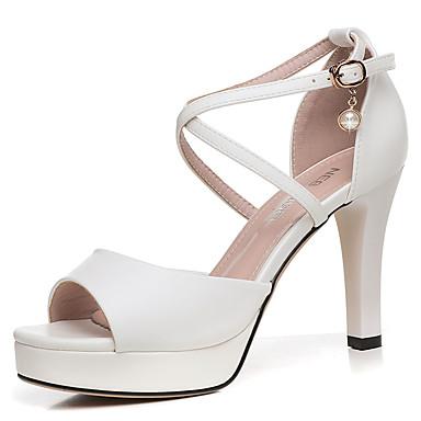 Mujer Zapatos Cuero Sintético Verano Pump Básico Sandalias Tacón Cuadrado Plateado / Rosa claro / Fiesta y Noche kMrj1GMPB