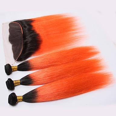 povoljno Ekstenzije od ljudske kose-3 paketi s zatvaranjem Brazilska kosa Ravan kroj Ljudska kosa Kosa potke zatvaranje Narančasta Isprepliće ljudske kose Ombre Proširenja ljudske kose / 8A