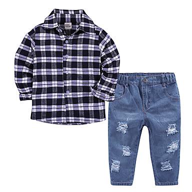 povoljno Odjeća za dječake-Dijete koje je tek prohodalo Dječaci Aktivan Dnevno Škola Houndstooth ripped Dugih rukava Regularna Pamuk Komplet odjeće Crn / Slatko