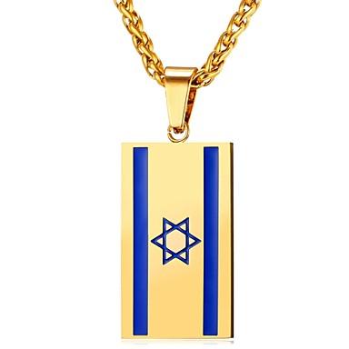 levne Pánské šperky-Pánské Dámské Náhrdelníky s přívěšky Vlajka Módní Nerez Zlatá Stříbrná 55 cm Náhrdelníky Šperky Pro Denní