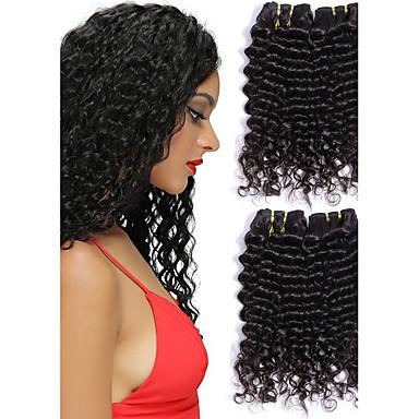 3 pakker Peruviansk hår Bølget Ekte hår Menneskehår Vevet Hairextensions med menneskehår Naturlig Farge Hårvever med menneskehår Hot Salg Hairextensions med menneskehår / 8A