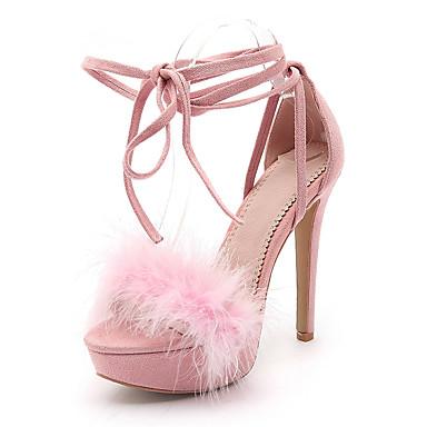 Mujer Zapatos Cuero Nobuck Verano Tira en el Tobillo Sandalias Tacón  Stiletto Puntera abierta Pajarita Negro   Rosa   Fiesta y Noche 6627004  2019 –  44.99 93748a59c584
