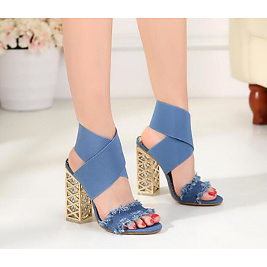 Mujer Zapatos PU Primavera / Otoño Confort Sandalias Tacón Plano Blanco / Negro / Azul Claro miTJAe
